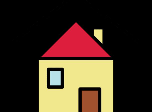 Papunetin piirroskuva kodista, jossa keltainen seinä, ruskea ovi ja sininen ikkuna
