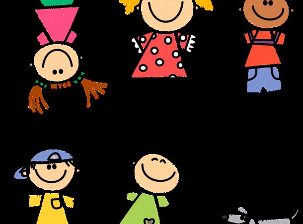 Iloisia, piirrettyjä lapsia hyppimässä ilmaan ja seisomassa käsillään