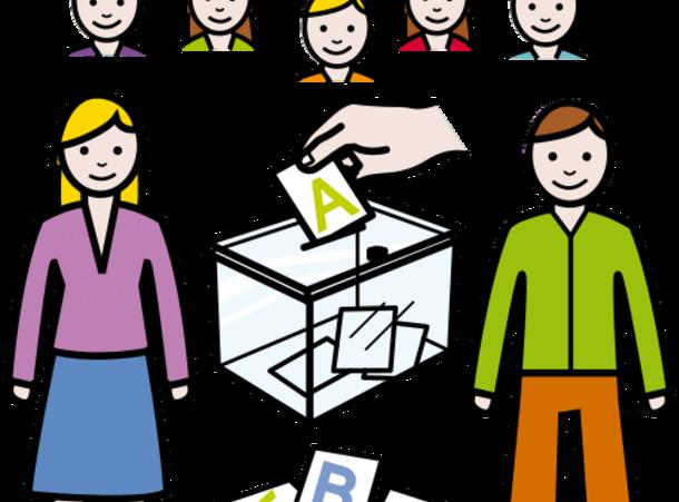 ihmisiä vaaliuurnan äärellä, äänestyslippuja eri vaihtoehdoilla, A, B, C.